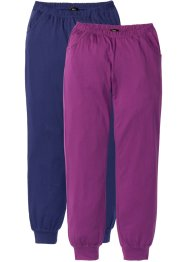 Pantalone in jersey (pacco da 2), bpc bonprix collection, Blu notte + viola