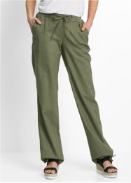 Pantaloni in misto lino, bpc bonprix collection, Verde oliva