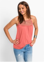 Top in jersey con pizzo, BODYFLIRT, Corallo