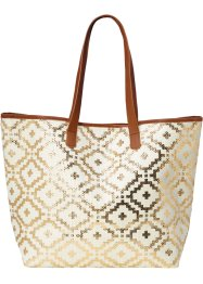 Borsa da spiaggia in fantasia etnica metallizzata, bpc bonprix collection, Crema / oro / marrone