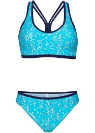 Bikini con bustier, bpc bonprix collection, Turchese / bianco