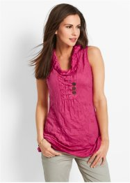 Top in tessuto crinkle, bpc bonprix collection, Fucsia scuro