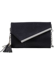 Pochette con patta obliqua e metallo, bpc bonprix collection, Nero / color argento