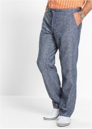 Pantalone in misto lino regular fit, bpc selection, Blu scuro / bianco melange