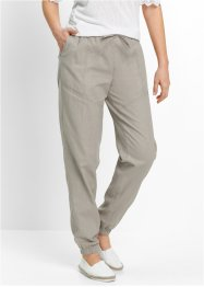 Pantalone cargo in misto lino, bpc bonprix collection, Pietra
