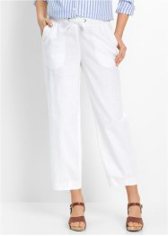 Pantalone 7/8 in misto lino, bpc bonprix collection, Bianco