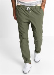 Pantalone in misto lino con elastico regular fit tapered, RAINBOW, Verde oliva