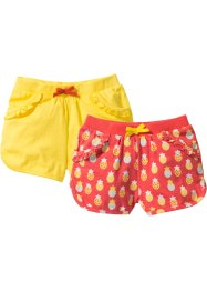 Shorts di jersey (pacco da 2), bpc bonprix collection, Aragosta fantasia + giallo ananas