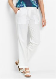 Pantalone in misto lino 7/8 senza chiusura, bpc bonprix collection