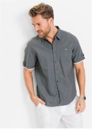Camicia a manica corta in misto lino regular fit, bpc bonprix collection, Grigio fumé
