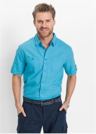 Camicia in misto lino regulat fit, bpc bonprix collection, Turchese