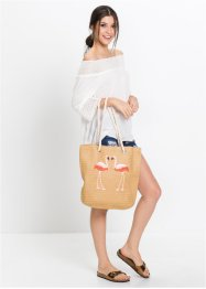 Borsa in paglia con fenicotteri, bpc bonprix collection