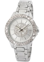 Orologio in metallo con strass, bpc bonprix collection