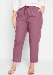 Pantalone 7/8 in popeline elasticizzato con cinta a costine, bpc bonprix collection