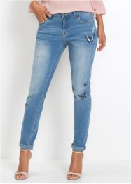 Jeans girlfriend con farfalle ricamate, BODYFLIRT
