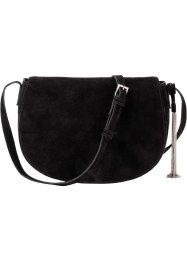 Borsa a tracolla in pelle con nappina di metallo, bpc bonprix collection