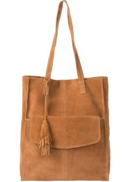 Borsa shopper in pelle con tasca e nappina, bpc selection premium
