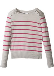 Pullover a righe con bottoni, bpc bonprix collection