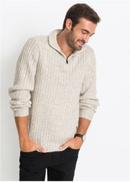 Pullover melange con cerniera regular fit, bpc selection