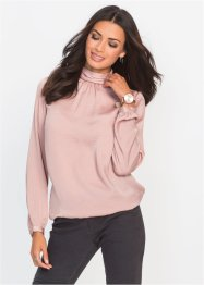 Blusa in satin con collo alto, BODYFLIRT