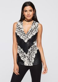 Top in similpelle con pizzo, BODYFLIRT boutique