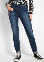Jeans boyfriend con fiori ricamati, bpc bonprix collection