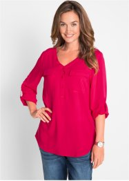 Blusa in viscosa a maniche lunghe con scollo a V, bpc bonprix collection