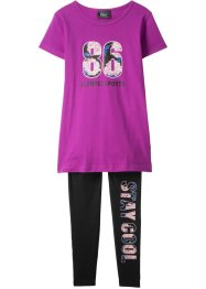 T-shirt + leggings per lo sport (set 2 pezzi), bpc bonprix collection
