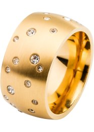 Anello in acciaio inossidabile e strass, bpc bonprix collection