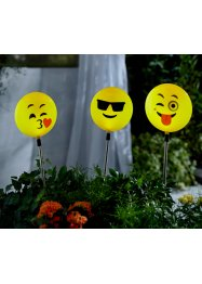 "Luci a energia solare ""Happy Face"" (set 3 pezzi), bpc living"