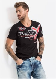 T-shirt con scollo a V slim fit, RAINBOW