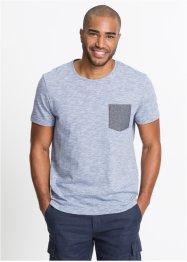 T-shirt melange con taschino in chambray, bpc bonprix collection