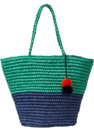 Borsa da spiaggia bicolore con pompon, bpc bonprix collection