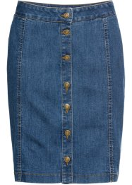 Gonna in jeans elasticizzato con bottoni, John Baner JEANSWEAR