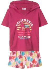 Top con cappuccio + shorts (set 2 pezzi), bpc bonprix collection