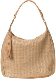 Borsa in simil rafia con nappa, bpc bonprix collection