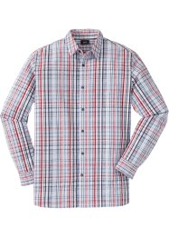 Camicia a manica lunga in seersucker a quadri regular fit, bpc bonprix collection
