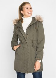 Parka in cotone con ecopelliccia, bpc bonprix collection