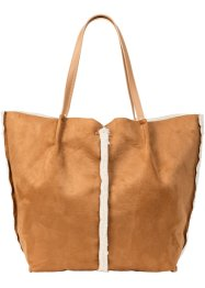 Borsa shopper in agnello sintetico, bpc bonprix collection
