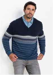 Pullover jacquard con scollo a V regular fit, bpc selection