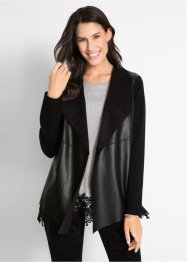 Cardigan con inserti in similpelle Maite Kelly, bpc bonprix collection