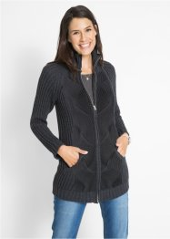 Cardigan a trecce con cerniera, bpc bonprix collection