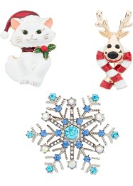 "Set di spille ""Natale"" (set 3 pezzi), bpc bonprix collection"