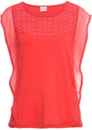 Top in maglina con volant in chiffon, BODYFLIRT