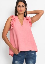 Top in misto lino con ruches, BODYFLIRT