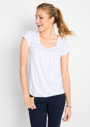 T-shirt in cotone con pizzo, bpc bonprix collection