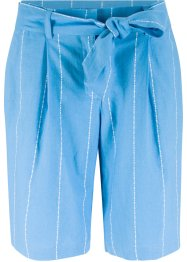 Pantaloncino in misto lino a righe con cintura, bpc bonprix collection