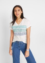 T-shirt in cotone con fasce colorate, John Baner JEANSWEAR