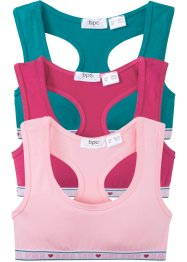 Bustier (pacco da 3) in cotone biologico, bpc bonprix collection