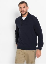Pullover con collo a scialle e cotone riciclato regular fit, RAINBOW